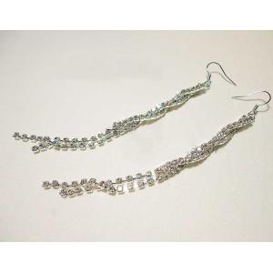 Pair Silver Plated Shinning Rhinestone Edging Earring E-0084