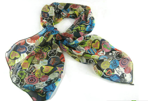 All Kinds Of symbol Smile Crown Stars Heart Peace smooth chiffon Scarf C-0012