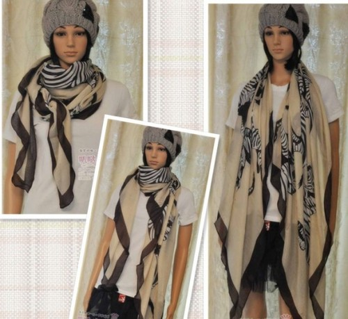 Fashion Cool Zebra Pattern Womens Long Scarf Shawl C-0018