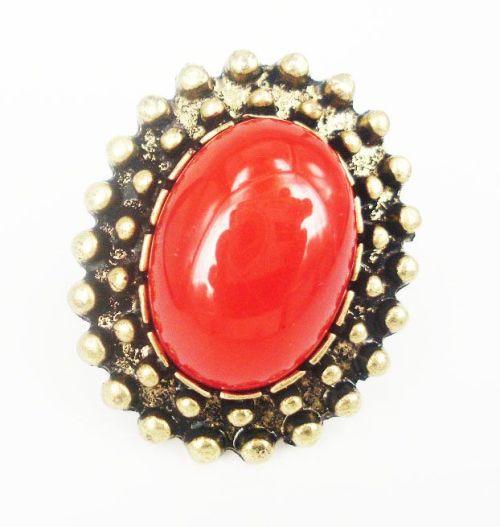 Vintage Style Bronze Faux Gem Adjustable Ring R-0735