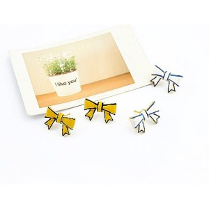 Wholesale 2pairs White&Yellow Glazed Simple Bowknot Earring Ear Stud E-1549