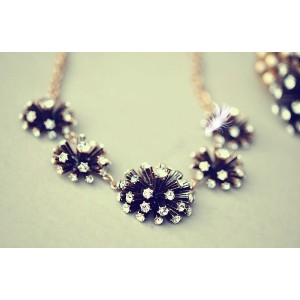 New Bohemia Style Copper Tone Clear Zircon Fireworks Flower Necklace Bracelet Set