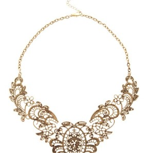 Vintage Style Gold Plated Lace Effect Flower Necklace N-0007