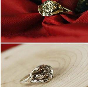 Pair Vintage Style lotus leaf Fish Ring size 7 R-0228