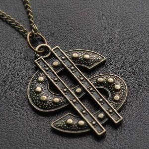 Bohemia Style Retor Dollar Symbol Pendant Necklace N-2878