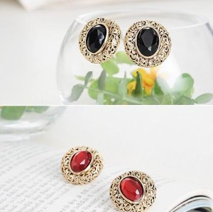 Wholesale 2 Pairs Bronze Gem Earring Ear Stud
