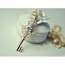 Gold Plated Double Chain Rhinestone Crown Key Necklace N-4776