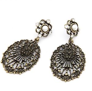 Vintage Style Rhinestone Flower Hollow Out Big Pendant Dangel Earring  E-1132