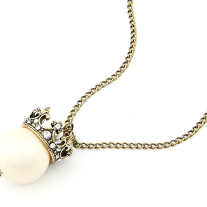 Vintage Style Rhinestone Crown Pearl Pendant Necklace N-4785