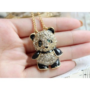 New Style gold plated chain bronze alloy rhin estone panda necklace black  glazed  N-3348
