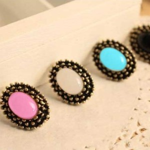 Wholesale 3pairs mint black peach Vintage Style Faux gem ear stud E-0048