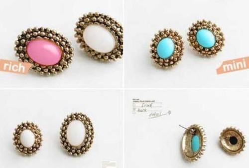 Wholesale 3pairs mint black peach Vintage Style Faux gem ear stud E-0048