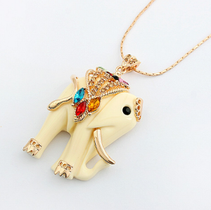 Bohemia Style colorful crystal clear rhinestone cream resin elephant necklace N-3358