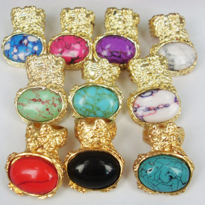 Gold plated opal gem ring hot sale  R-0805