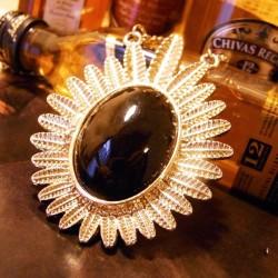 Gold plated Olive Leaf Gem Pendant Necklace N-0112