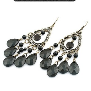 Pair Bronze Edging Black Crystal Drop Earring  E-0256