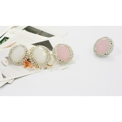 Color Optional Pair Pink&White Silver Plated Rhinestone Faux Gem Earring Ear Stud