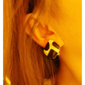 Pair Gold Plated Black Glazed Rhinestone Geometry Ear Stud E-1608