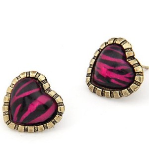 Pair Bronze Purple Leopard Heart Ear Stud Earring E-1045