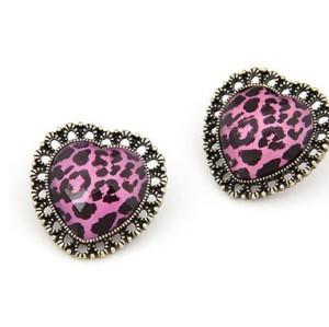 Vintage Style Bronze Faux Crystal Leopard Heart Ear Stud Earring E-1043