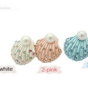 New Coming Charming Pink Blue White Glazed Colorful Rhinestone Pearl Shell shape Ear Stud E-1592