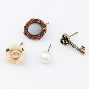 4pieces New Style Rhinestone Gem Pearl Bronze Key Flower Earring Ear Stud E-0586