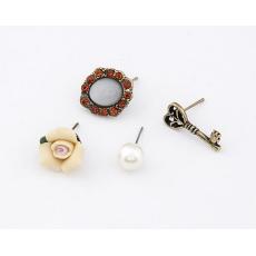 4pieces New Style Rhinestone Gem Pearl Bronze Key Flower Earring Ear Stud E-0586
