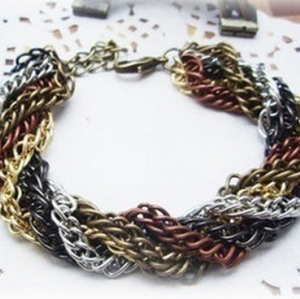2pieces Fashion Style multilayer 5colors chain bracelet B-0060