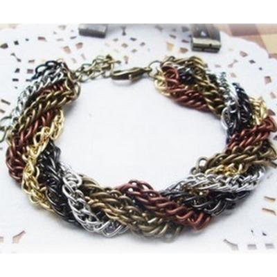 2pieces Fashion Style multilayer 5colors chain bracelet B-0060