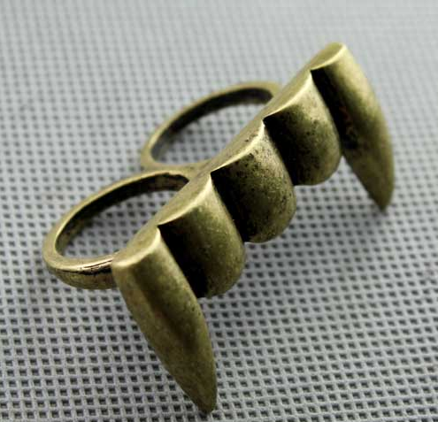 Wholesale 2Pieces Vintage Style Bronze Silver Tusk Two Finger Ring R-1016