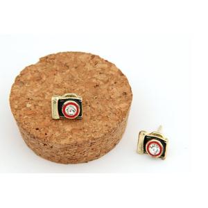 New Coming Gold Plated Glazed Clear Rhinestone Cute Camera Earring Ear Stud E-1103