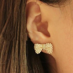 2012 New Style Cute Clear Rhinestone Lots Beads Pearls Bowknot Earring Ear Stud E-1507