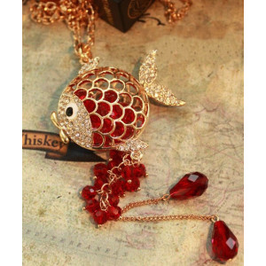 2012 New Gold Tone Red Crystal Long Chain Gold Fish Necklace N-4023