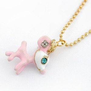 New Arrived Gold Plated Chain Pink Glazed Green Eye Deer Necklace N-3285