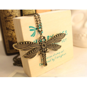 Vintage Style bronze dragonfly pendant neclace N-2601