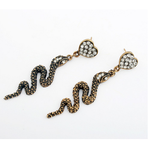 Fashion Style copper tone alloy clear rhinestone heart snake dangle earring ear stud E-0645