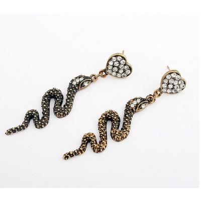 Fashion Style copper tone alloy clear rhinestone heart snake dangle earring ear stud E-0645