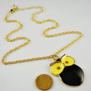 gold plated glazed cute owl pendant necklace N-2508