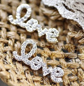 Pair Gold&Silver Plated Optional Nobel Rhinestone Covered Letter Love Ear stud E-0503