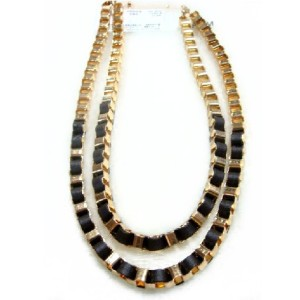 New Arrived Gold Plated Black Leather Link Doule Choker Necklace N-1060