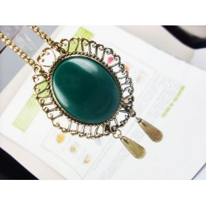 Vintage Style Bronze Snake Chain Hollow Out Flower Green Gem Drop Necklace N-0542