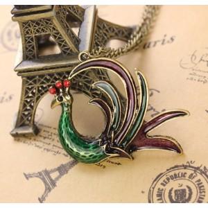 Vintage Style rhinestone colorful glazed Phoenix necklace N-3309