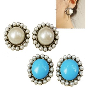 wholesale 2 pairs pearl gem sunflower ear stud E-0050