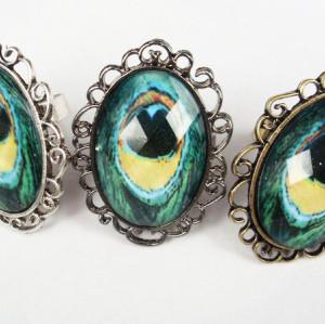 Color Optional Peacock Gen Ring Size Adjustable R-0801