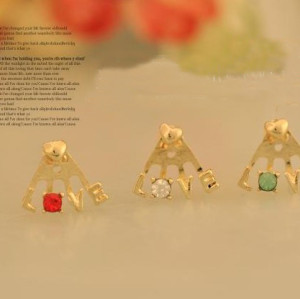 New Style rose gold plated rhinestone heart love letter ear stud E-0506