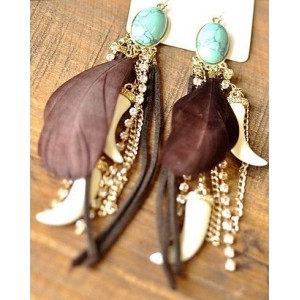 western style rhinestone leather ivory black feather Gem dangle earring E-0608
