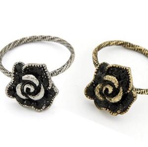 Wholesale 2 pieces Vintage Silver/bronze alloy black rhinestone rose flower ring R-0512