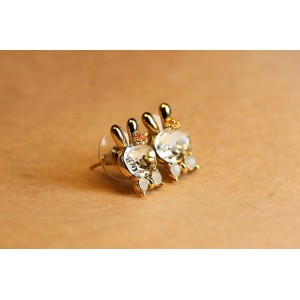 Fashion Crystal Bow silver/Gold Plated Lovely Rabbit Shape ear stud E-1656