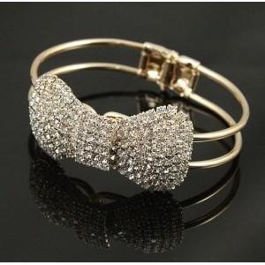 gold plated rhinestone bowknot bangel B-0199