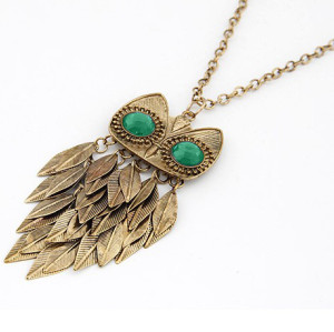 Vintage Style  copper tone leaves green crystal eye owl necklace N-2545